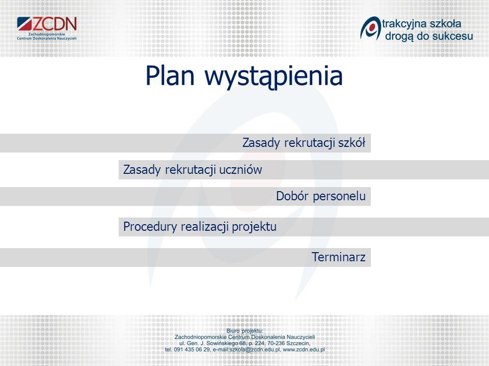 Plan wystąpienia Zasady rekrutacji szkół Zasady rekrutacji uczniów Dobór personelu Procedury realizacji projektu Terminarz