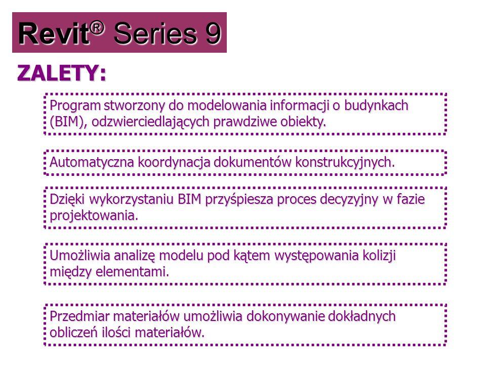 Revit ® Series 9 Program stworzony do modelowania informacji o budynkach (BIM), odzwierciedlających prawdziwe obiekty. Automatyczna koordynacja dokume
