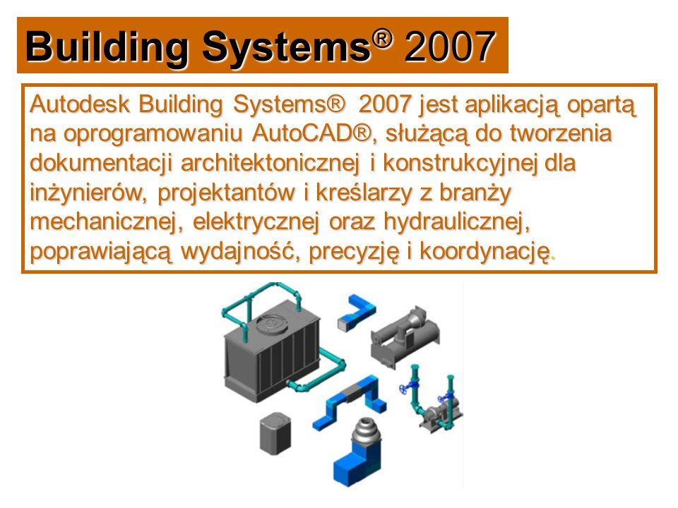 Building Systems® 2007 Autodesk Building Systems® 2007 jest aplikacją opartą na oprogramowaniu AutoCAD®, służącą do tworzenia dokumentacji architektonicznej i konstrukcyjnej dla inżynierów, projektantów i kreślarzy z branży mechanicznej, elektrycznej oraz hydraulicznej, poprawiającą wydajność, precyzję i koordynację.
