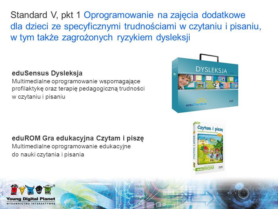 eduSensus Dysleksja Multimedialne oprogramowanie wspomagające profilaktykę oraz terapię pedagogiczną trudności w czytaniu i pisaniu eduROM Gra edukacy