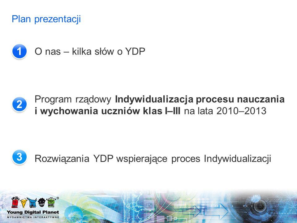 Plan prezentacji O nas – kilka słów o YDP Program rządowy Indywidualizacja procesu nauczania i wychowania uczniów klas I–III na lata 2010–2013 Rozwiąz