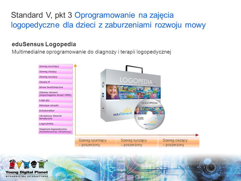 Standard V, pkt 3 Oprogramowanie na zajęcia logopedyczne dla dzieci z zaburzeniami rozwoju mowy Szereg szumiący – poszerzony Szereg ciszący – poszerzo
