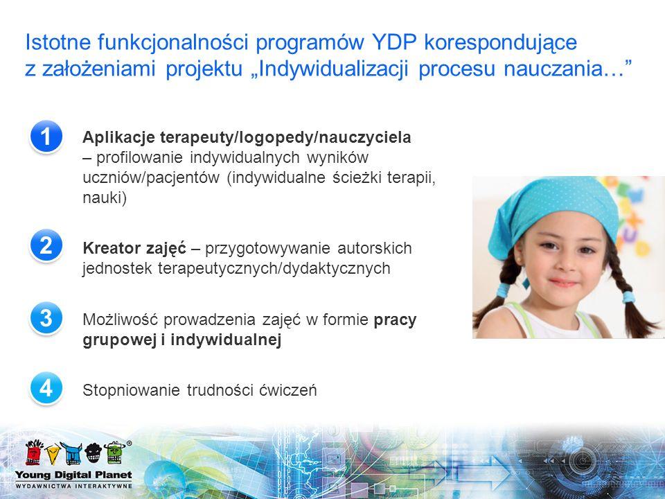 Aplikacje terapeuty/logopedy/nauczyciela – profilowanie indywidualnych wyników uczniów/pacjentów (indywidualne ścieżki terapii, nauki) Kreator zajęć –