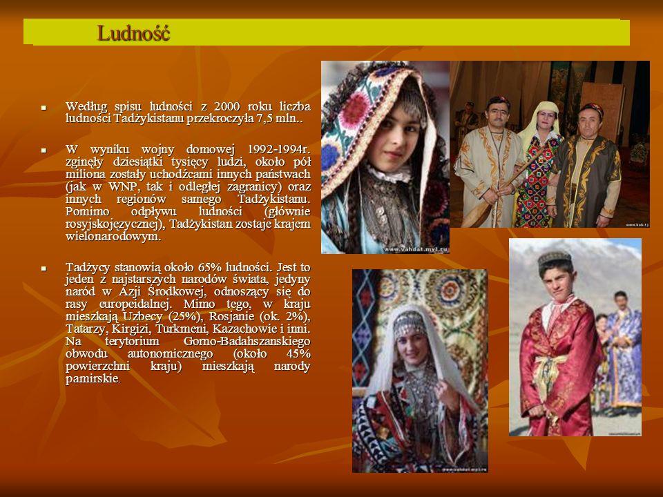 Население Ludność Według spisu ludności z 2000 roku liczba ludności Tadżykistanu przekroczyła 7,5 mln..