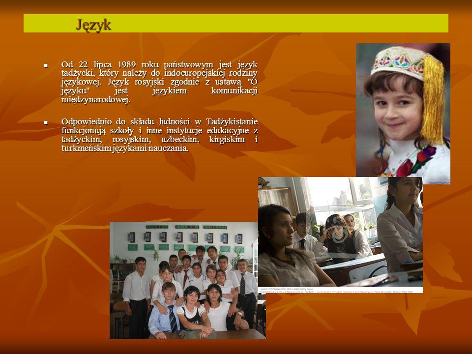 Od 22 lipca 1989 roku państwowym jest język tadżycki, który należy do indoeuropejskiej rodziny językowej.
