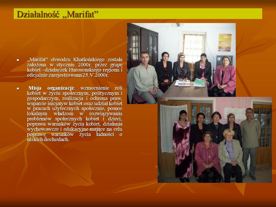 Działalność Marifat Marifat obwodzu Khatlońskiego została założona w styczniu 2000r.