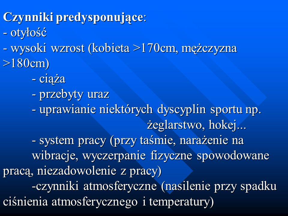 Czynniki predysponujące: - otyłość - wysoki wzrost (kobieta >170cm, mężczyzna >180cm) - ciąża - przebyty uraz - uprawianie niektórych dyscyplin sportu