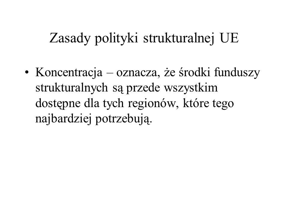 Zasady polityki strukturalnej UE Koncentracja – oznacza, że środki funduszy strukturalnych są przede wszystkim dostępne dla tych regionów, które tego