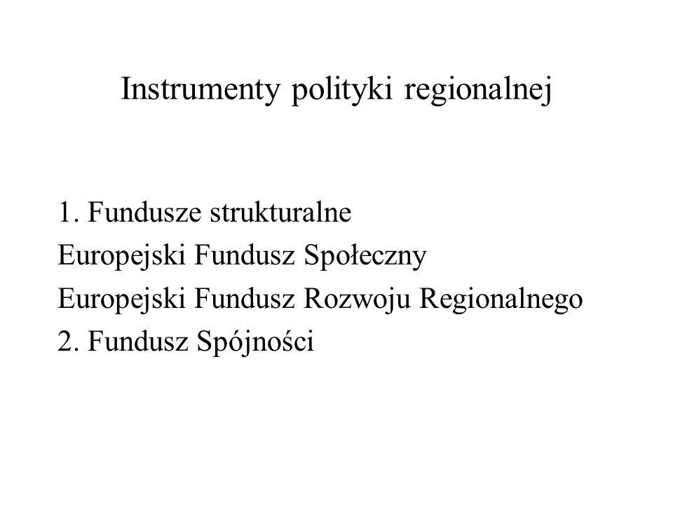 Instrumenty polityki regionalnej 1. Fundusze strukturalne Europejski Fundusz Społeczny Europejski Fundusz Rozwoju Regionalnego 2. Fundusz Spójności