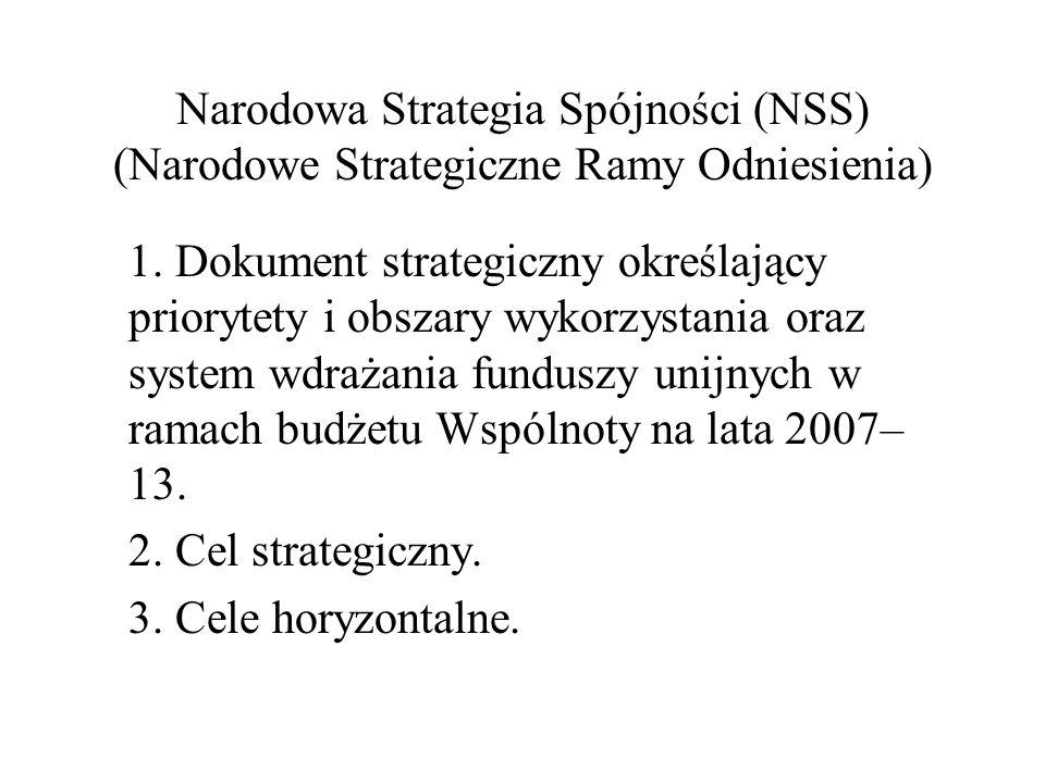 Narodowa Strategia Spójności (NSS) (Narodowe Strategiczne Ramy Odniesienia) 1. Dokument strategiczny określający priorytety i obszary wykorzystania or
