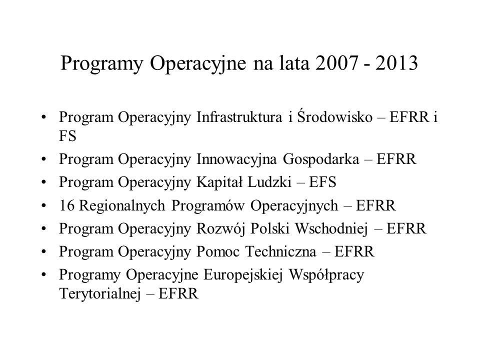 Programy Operacyjne na lata 2007 - 2013 Program Operacyjny Infrastruktura i Środowisko – EFRR i FS Program Operacyjny Innowacyjna Gospodarka – EFRR Pr