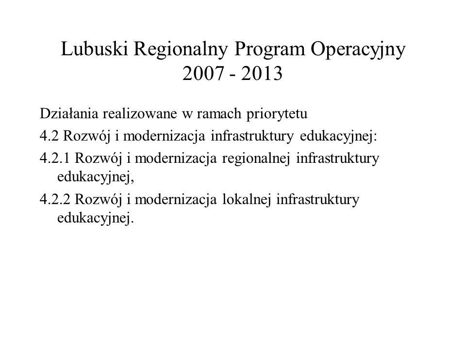 Lubuski Regionalny Program Operacyjny 2007 - 2013 Działania realizowane w ramach priorytetu 4.2 Rozwój i modernizacja infrastruktury edukacyjnej: 4.2.