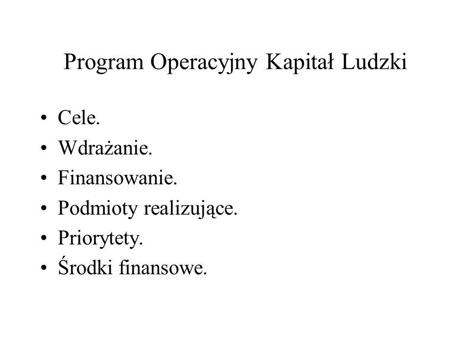 Program Operacyjny Kapitał Ludzki Cele. Wdrażanie. Finansowanie. Podmioty realizujące. Priorytety. Środki finansowe.