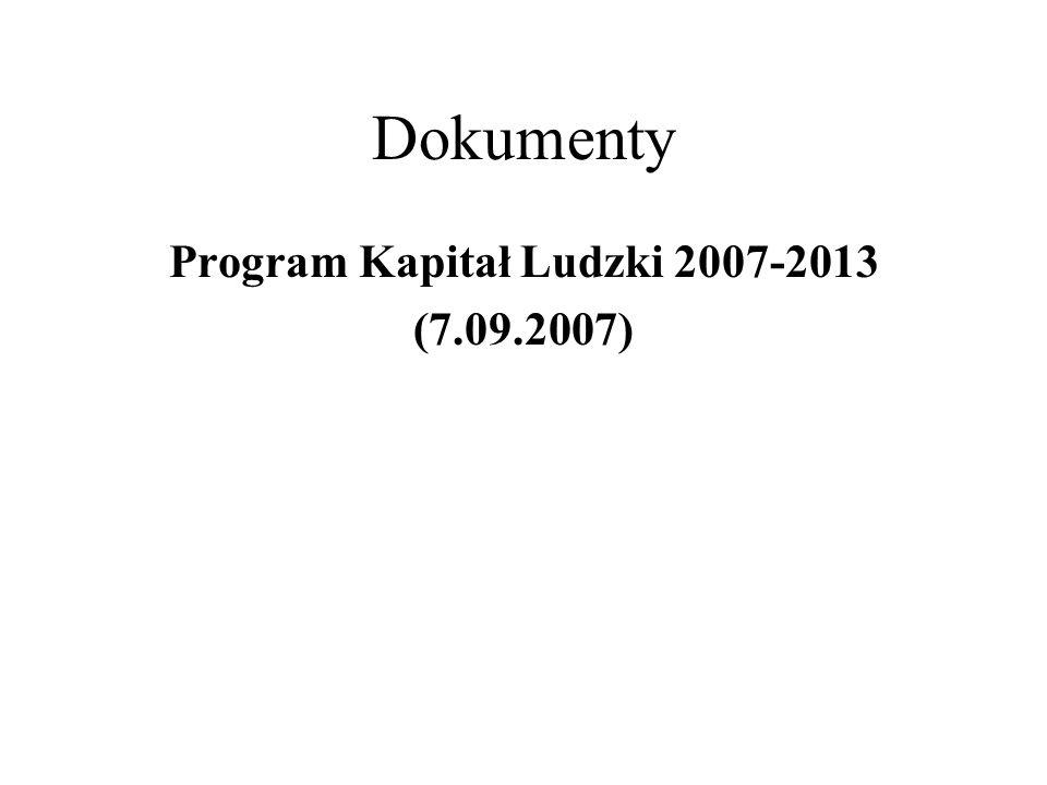 Dokumenty Program Kapitał Ludzki 2007-2013 (7.09.2007)