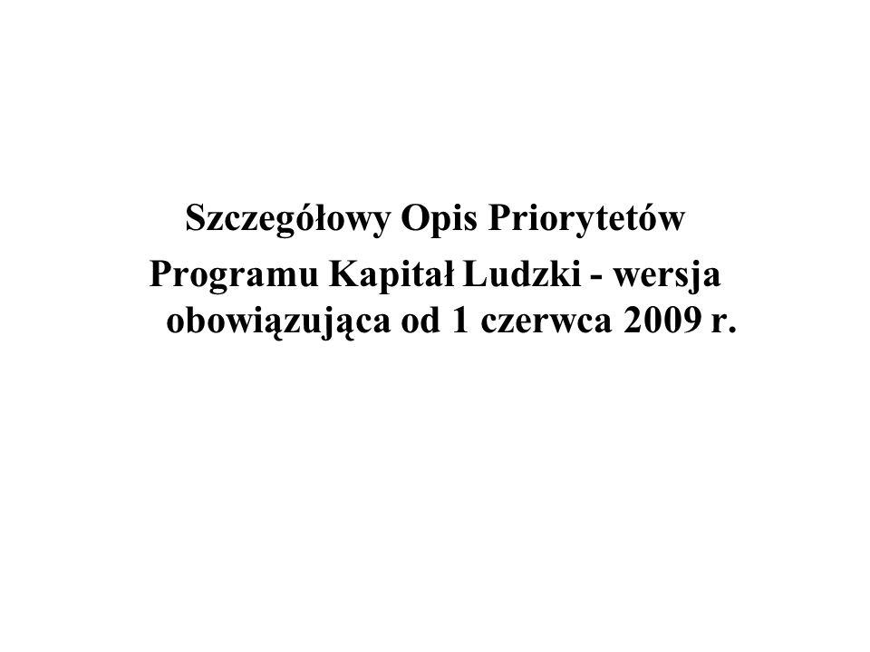 Szczegółowy Opis Priorytetów Programu Kapitał Ludzki - wersja obowiązująca od 1 czerwca 2009 r.