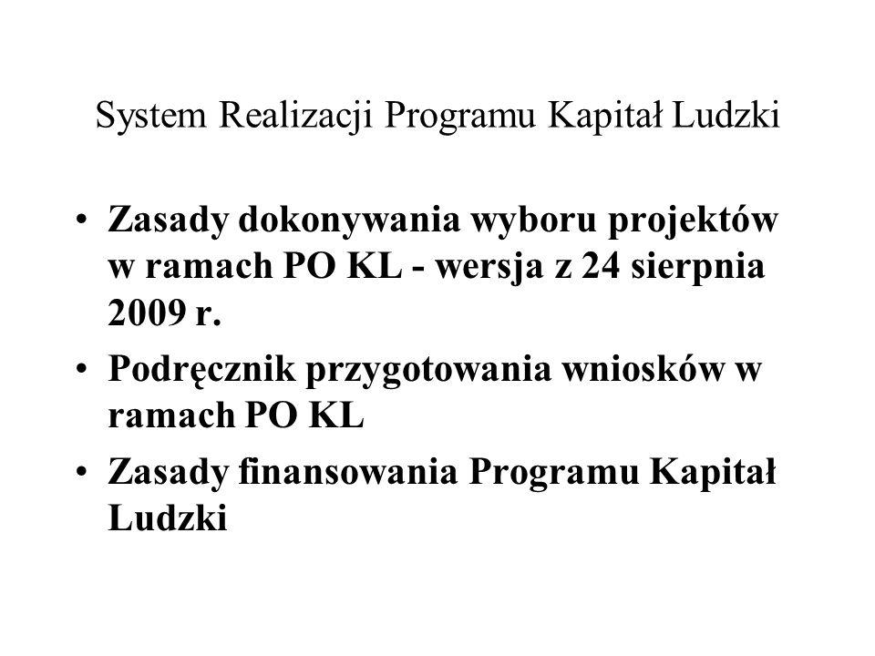 System Realizacji Programu Kapitał Ludzki Zasady dokonywania wyboru projektów w ramach PO KL - wersja z 24 sierpnia 2009 r. Podręcznik przygotowania w