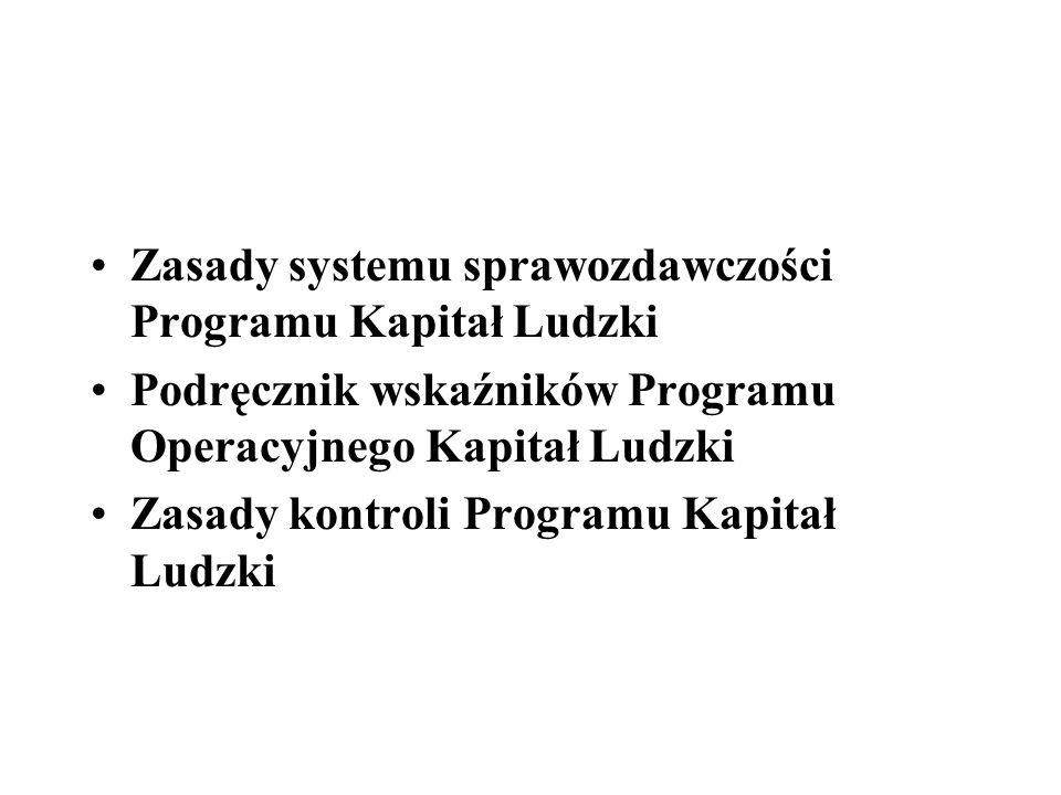 Zasady systemu sprawozdawczości Programu Kapitał Ludzki Podręcznik wskaźników Programu Operacyjnego Kapitał Ludzki Zasady kontroli Programu Kapitał Lu