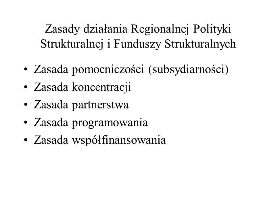 Zasady działania Regionalnej Polityki Strukturalnej i Funduszy Strukturalnych Zasada pomocniczości (subsydiarności) Zasada koncentracji Zasada partner