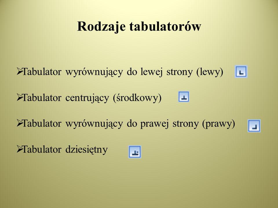 Rodzaje tabulatorów Tabulator wyrównujący do lewej strony (lewy) Tabulator centrujący (środkowy) Tabulator wyrównujący do prawej strony (prawy) Tabulator dziesiętny