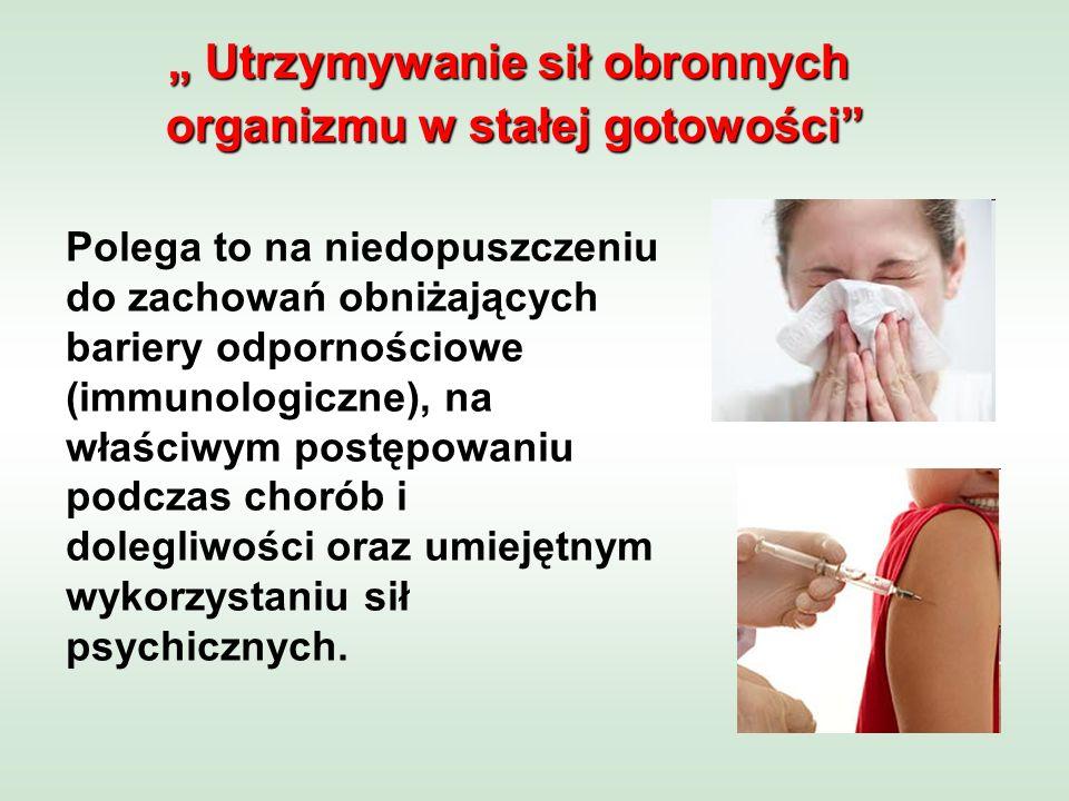 Polega to na niedopuszczeniu do zachowań obniżających bariery odpornościowe (immunologiczne), na właściwym postępowaniu podczas chorób i dolegliwości oraz umiejętnym wykorzystaniu sił psychicznych.