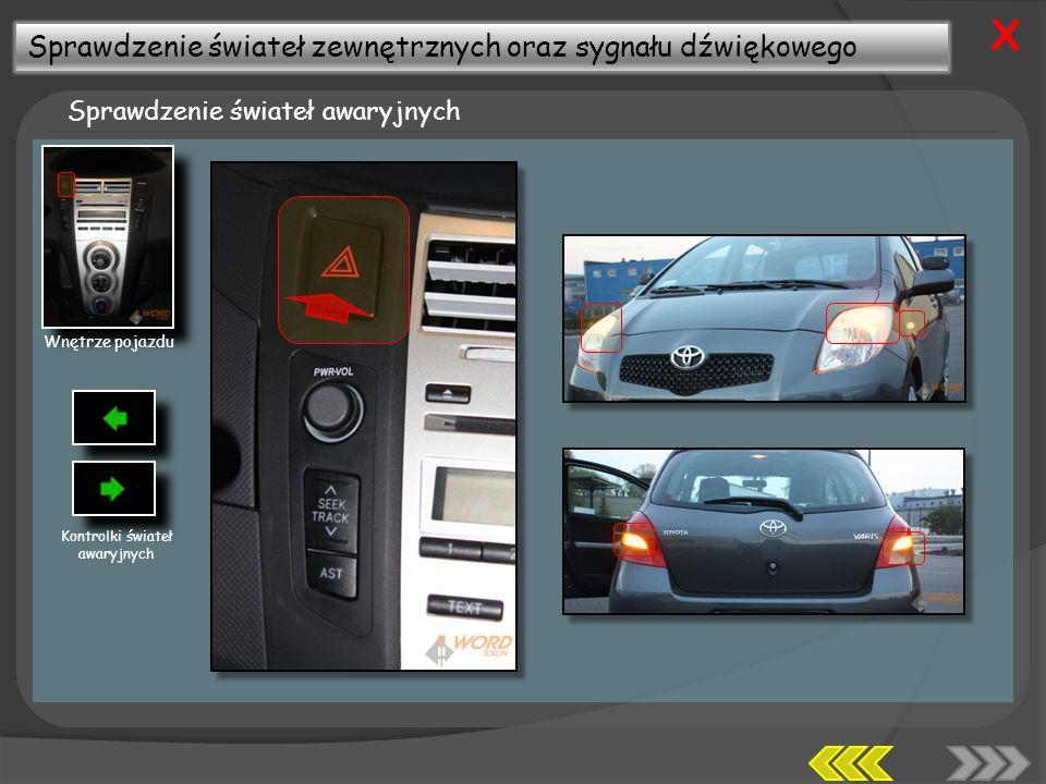 Sprawdzenie świateł zewnętrznych oraz sygnału dźwiękowego Sprawdzenie świateł awaryjnych X Wnętrze pojazdu Kontrolki świateł awaryjnych