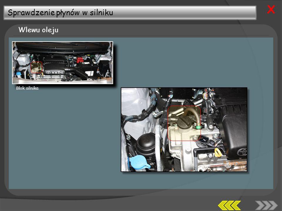 Sprawdzenie płynów w silniku Wlewu oleju X Blok silnika