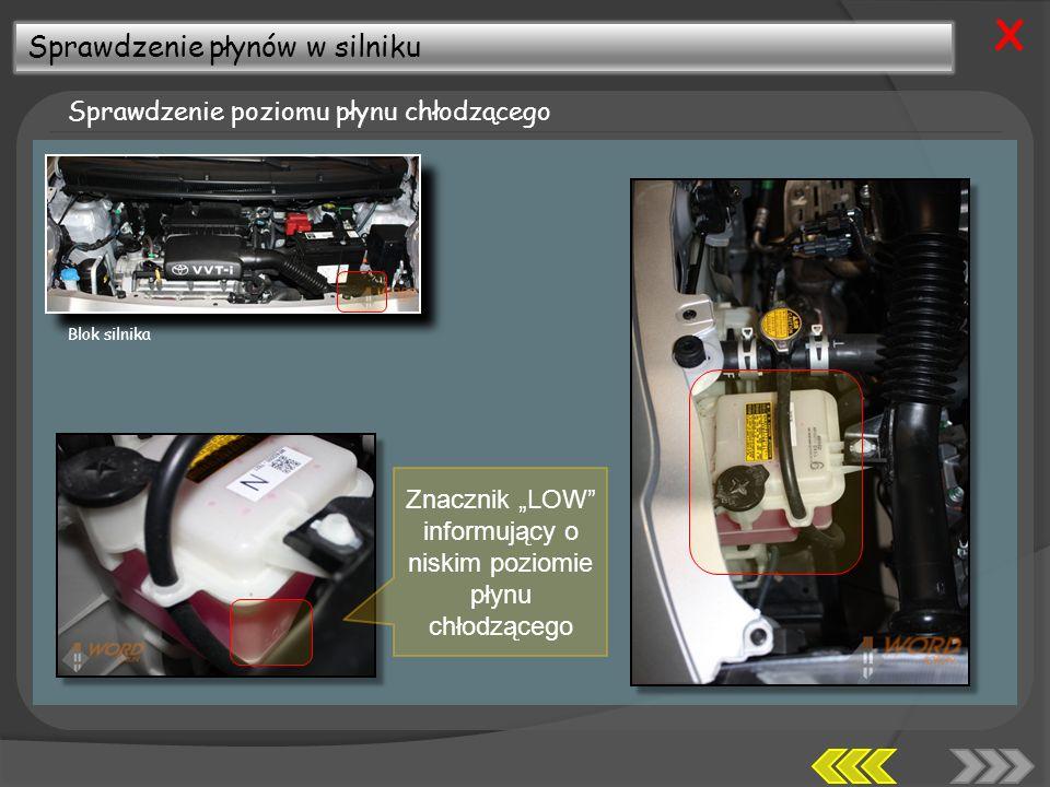 Sprawdzenie płynów w silniku Sprawdzenie poziomu płynu chłodzącego X Znacznik LOW informujący o niskim poziomie płynu chłodzącego Blok silnika