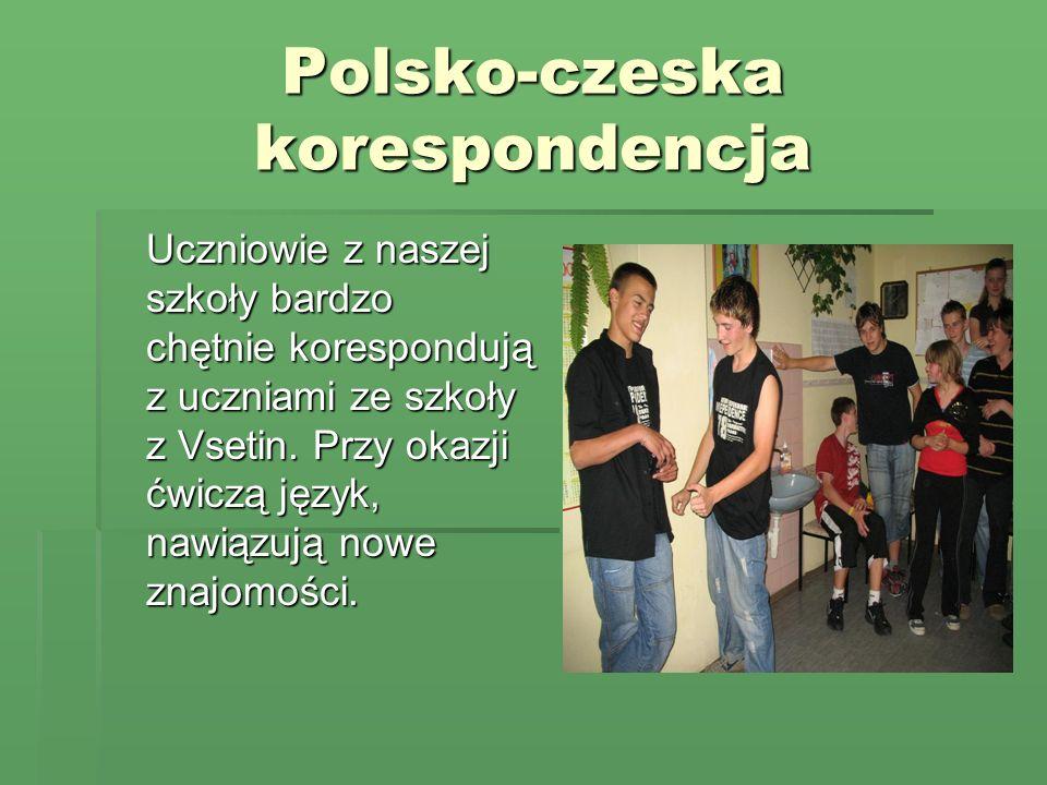 Polsko-czeska korespondencja Uczniowie z naszej szkoły bardzo chętnie korespondują z uczniami ze szkoły z Vsetin.