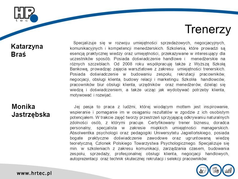 Katarzyna Braś Specjalizuje się w rozwoju umiejętności sprzedażowych, negocjacyjnych, komunikacyjnych i kompetencji menedżerskich. Szkolenia, które pr