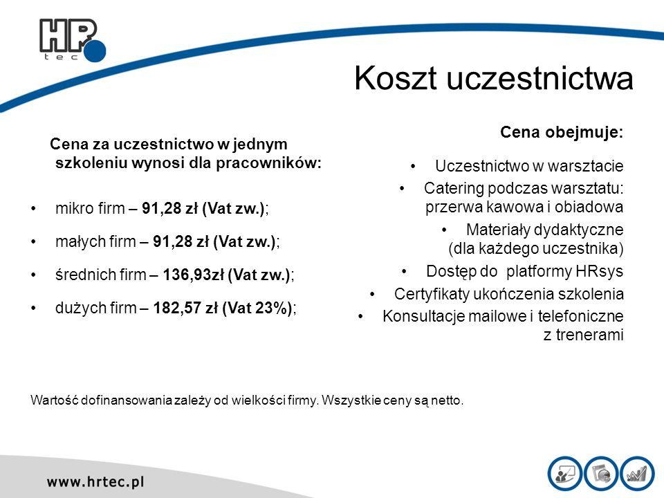 Koszt uczestnictwa Cena za uczestnictwo w jednym szkoleniu wynosi dla pracowników: mikro firm – 91,28 zł (Vat zw.); małych firm – 91,28 zł (Vat zw.);