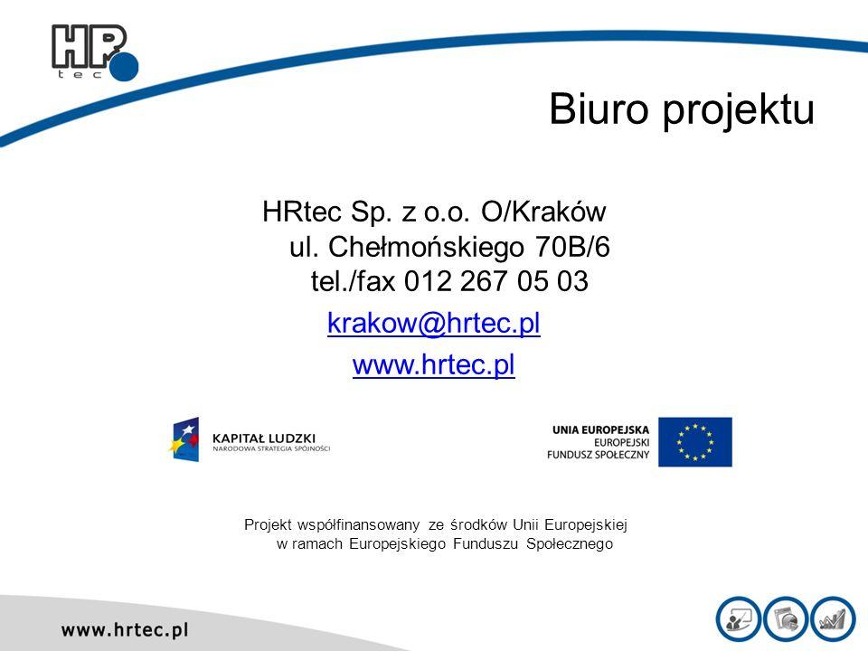Biuro projektu HRtec Sp. z o.o. O/Kraków ul. Chełmońskiego 70B/6 tel./fax 012 267 05 03 krakow@hrtec.pl www.hrtec.pl Projekt współfinansowany ze środk