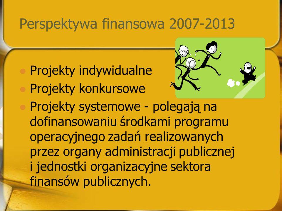 Perspektywa finansowa 2007-2013 Projekty indywidualne Projekty konkursowe Projekty systemowe - polegają na dofinansowaniu środkami programu operacyjnego zadań realizowanych przez organy administracji publicznej i jednostki organizacyjne sektora finansów publicznych.