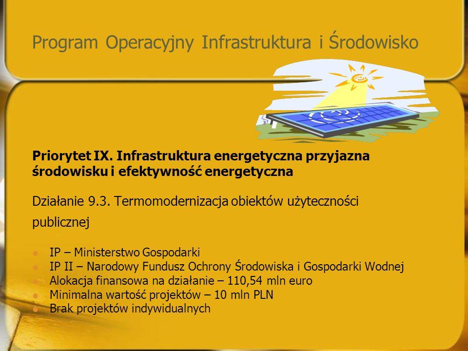 Program Operacyjny Infrastruktura i Środowisko Priorytet IX.