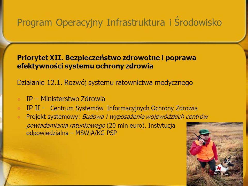 Program Operacyjny Infrastruktura i Środowisko Priorytet XII.
