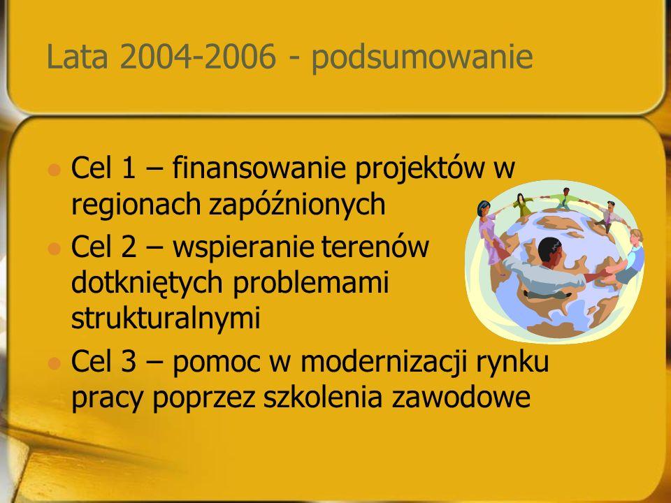 Lata 2004-2006 - podsumowanie Cel 1 – finansowanie projektów w regionach zapóźnionych Cel 2 – wspieranie terenów dotkniętych problemami strukturalnymi Cel 3 – pomoc w modernizacji rynku pracy poprzez szkolenia zawodowe
