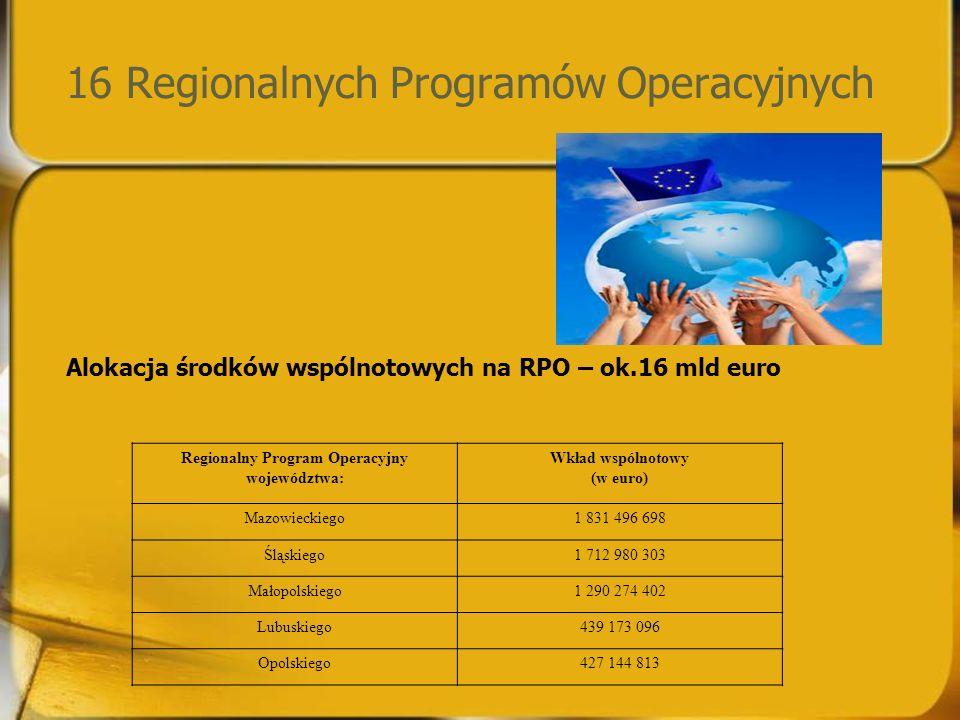 16 Regionalnych Programów Operacyjnych Alokacja środków wspólnotowych na RPO – ok.16 mld euro Regionalny Program Operacyjny województwa: Wkład wspólnotowy (w euro) Mazowieckiego1 831 496 698 Śląskiego1 712 980 303 Małopolskiego1 290 274 402 Lubuskiego439 173 096 Opolskiego427 144 813