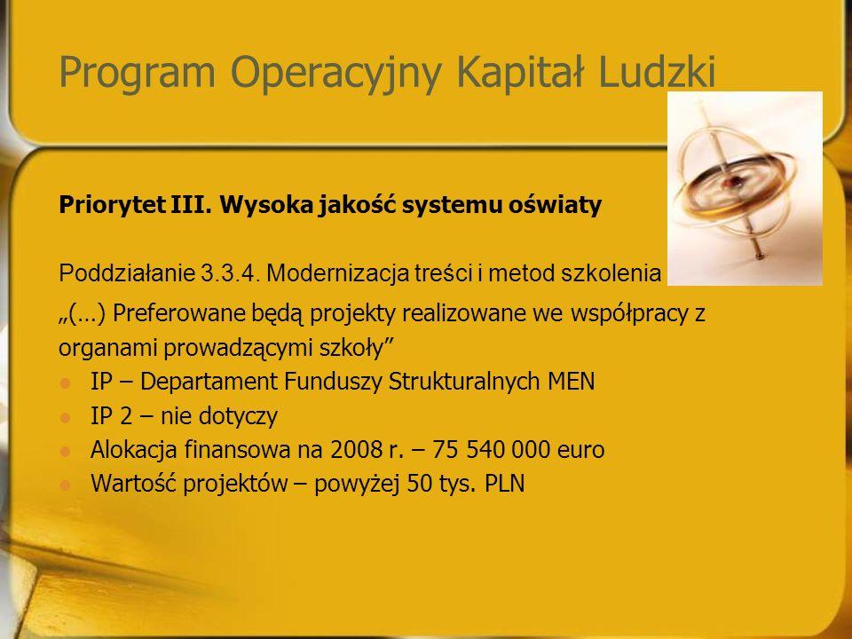 Program Operacyjny Kapitał Ludzki Priorytet III. Wysoka jakość systemu oświaty Poddziałanie 3.3.4.