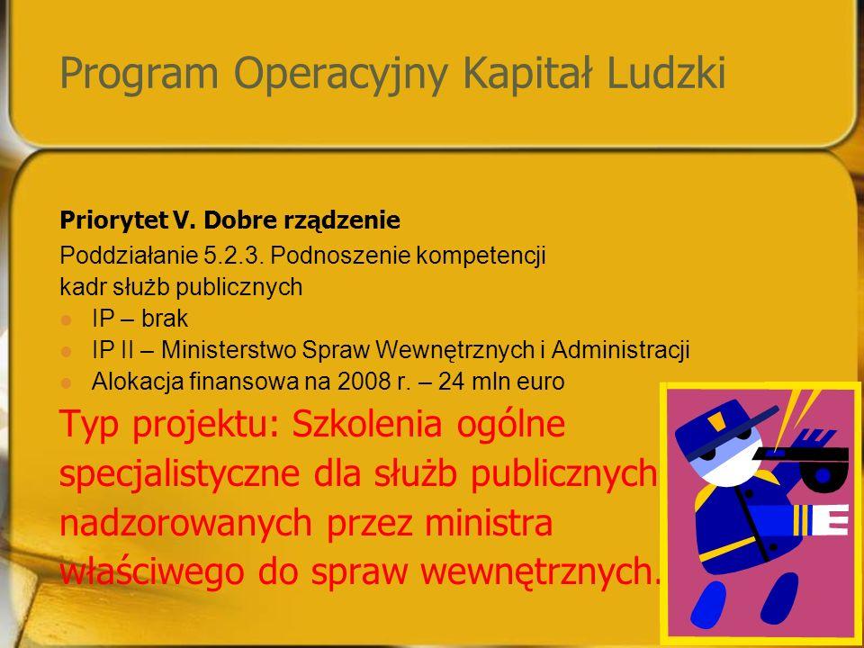 Program Operacyjny Kapitał Ludzki Priorytet V. Dobre rządzenie Poddziałanie 5.2.3.