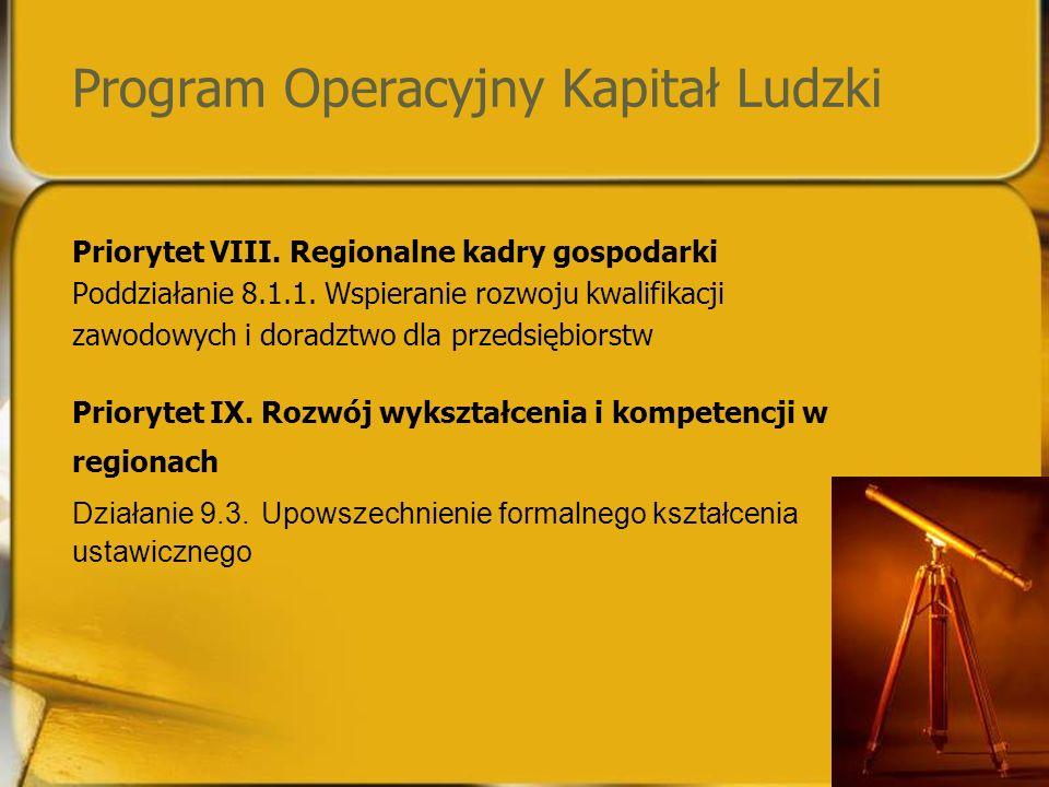 Program Operacyjny Kapitał Ludzki Priorytet VIII. Regionalne kadry gospodarki Poddziałanie 8.1.1.