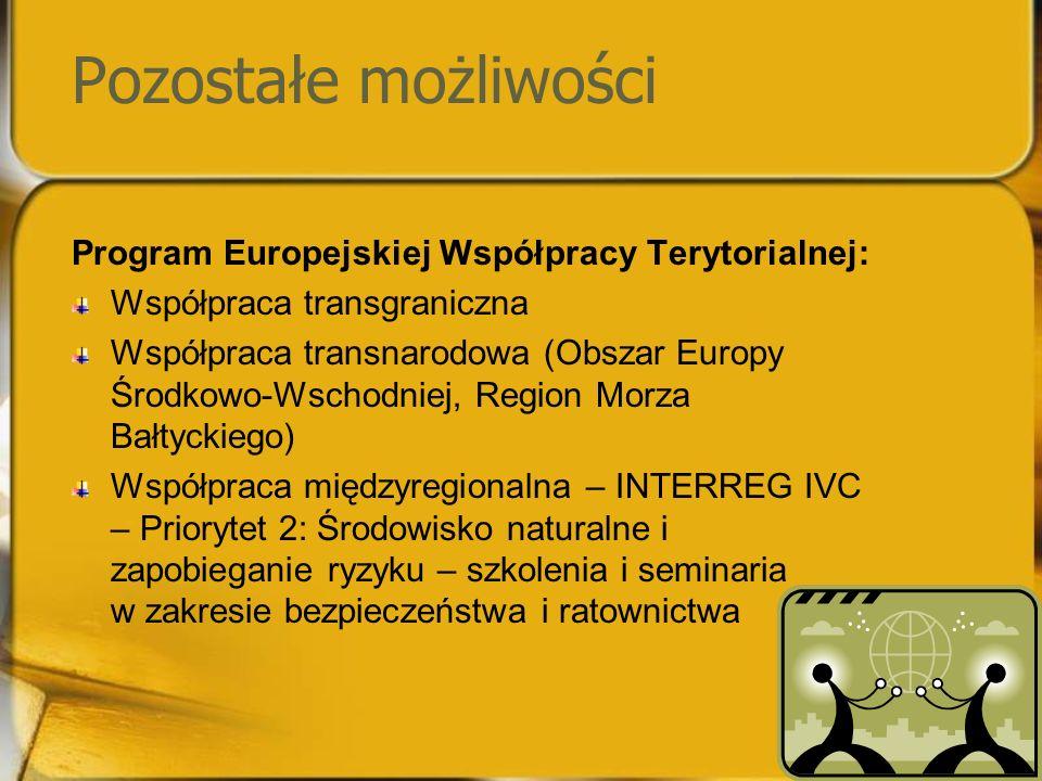 Pozostałe możliwości Program Europejskiej Współpracy Terytorialnej: Współpraca transgraniczna Współpraca transnarodowa (Obszar Europy Środkowo-Wschodniej, Region Morza Bałtyckiego) Współpraca międzyregionalna – INTERREG IVC – Priorytet 2: Środowisko naturalne i zapobieganie ryzyku – szkolenia i seminaria w zakresie bezpieczeństwa i ratownictwa