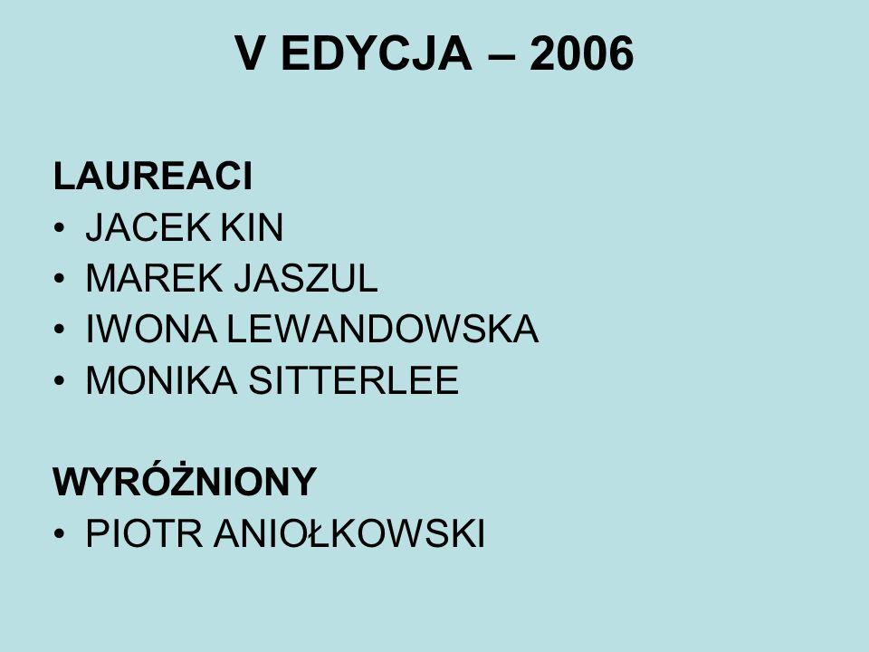 V EDYCJA – 2006 LAUREACI JACEK KIN MAREK JASZUL IWONA LEWANDOWSKA MONIKA SITTERLEE WYRÓŻNIONY PIOTR ANIOŁKOWSKI