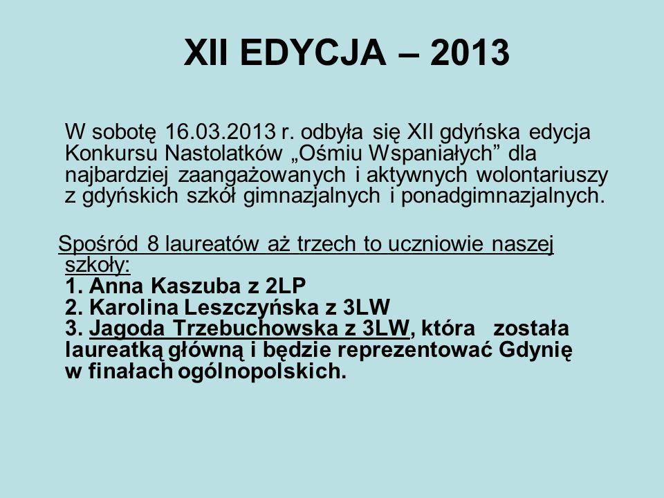 XII EDYCJA – 2013 W sobotę 16.03.2013 r. odbyła się XII gdyńska edycja Konkursu Nastolatków Ośmiu Wspaniałych dla najbardziej zaangażowanych i aktywny
