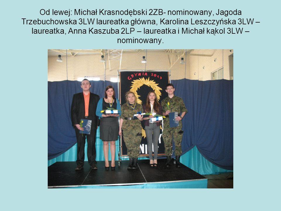 Od lewej: Michał Krasnodębski 2ZB- nominowany, Jagoda Trzebuchowska 3LW laureatka główna, Karolina Leszczyńska 3LW – laureatka, Anna Kaszuba 2LP – lau