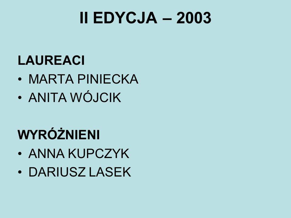 III EDYCJA – 2004 LAUREACI MAGDA JARZEMBINSKA ALEKSANDRA ZDUNIAK WYRÓŻNIENI ADAM BEREST MAGDALENA KAZUB PRZEMYSŁAW MAŚCIANICA KAROLINA PIANKOWSKA MICHAŁ STACHOWSKI AGNIESZKA TUBILEWICZ KATARZYNA WOLENSZLEGER