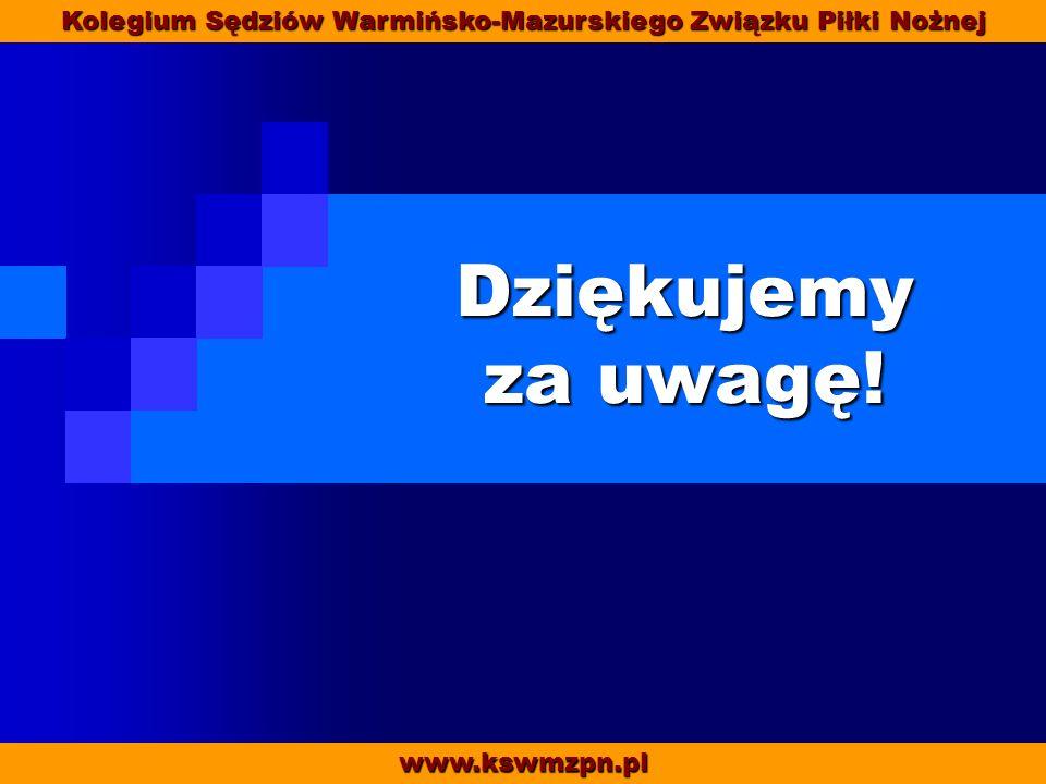 www.kswmzpn.pl Kolegium Sędziów Warmińsko-Mazurskiego Związku Piłki Nożnej Dziękujemy za uwagę!