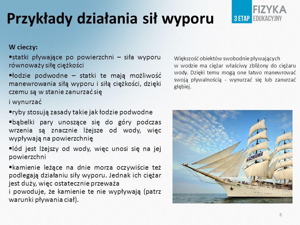 Przykłady działania sił wyporu W cieczy: statki pływające po powierzchni – siła wyporu równoważy siłę ciężkości łodzie podwodne – statki te mają możli