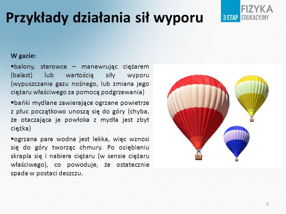 Przykłady działania sił wyporu W gazie: balony, sterowce – manewrując ciężarem (balast) lub wartością siły wyporu (wypuszczanie gazu nośnego, lub zmia