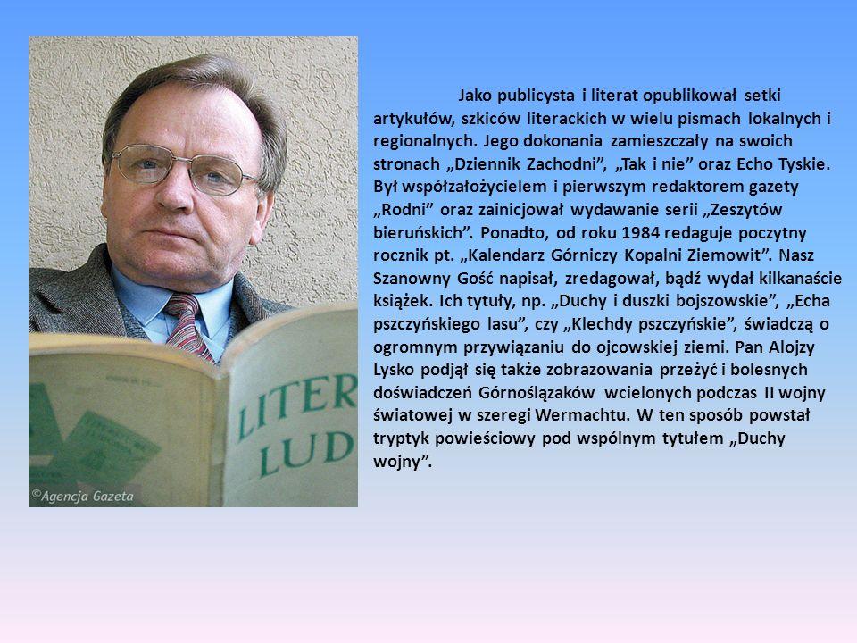 Jako publicysta i literat opublikował setki artykułów, szkiców literackich w wielu pismach lokalnych i regionalnych. Jego dokonania zamieszczały na sw