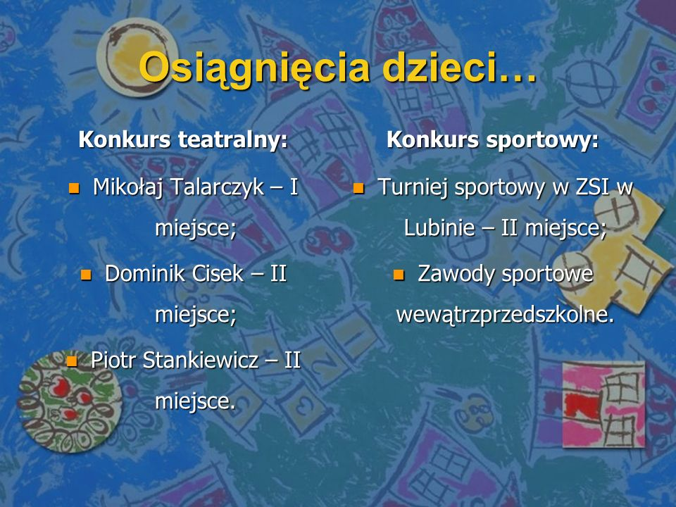 Osiągnięcia dzieci… Konkurs teatralny: n Mikołaj Talarczyk – I miejsce; n Dominik Cisek – II miejsce; n Piotr Stankiewicz – II miejsce. Konkurs sporto