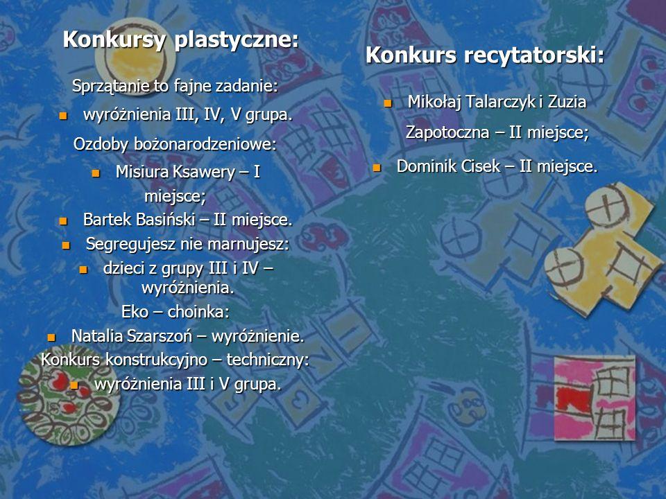 Konkursy plastyczne: Sprzątanie to fajne zadanie: n wyróżnienia III, IV, V grupa. Ozdoby bożonarodzeniowe: n Misiura Ksawery – I miejsce; n Bartek Bas